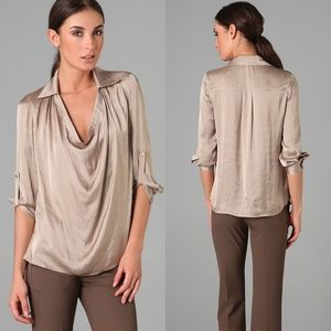 [Vince.] Collared cowl neck blouse